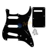 Set of Black 3Ply Guitar SSS Pickguard 11 Holes & Back Plate for FD Strat Guitar
