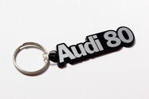 Audi 80 Keyring - Brushed Metal Effect Retro Classic Car Keytag / Keyfob