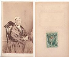 ELDERLY WOMAN IN ORNATE CHAIR WITH 3 CENT STAMP ON BACK, CDV