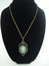 """CAMEO NECKLACE PENDANT 28"""" CHAIN ANTIQUE BRASS OLIVE CAMEO"""
