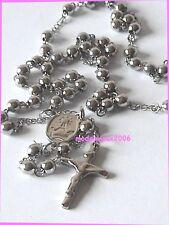 Collana per uomo e donna corona in acciaio con decine e Crocifisso
