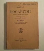 C967 TAVOLE DI LOGARITMI CON 5 DECIMALI G. TOLOMEI FELICE LE MONNIER 1929