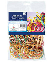 Assorted Colour 60g Bag Elastic Rubber Bands Ideal For Home School & Office