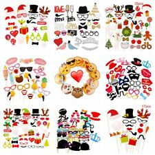 Xmas Party DIY Decor Photo Booth Props Mask On A Stick Mustache Merry Christmas