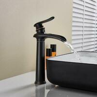 Waterfall Spout Single Handle Bathroom Sink Vessel Faucet Tall Bronze Mixer Tap