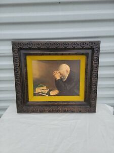 "Vtg Eric Enstrom Old Man Praying ""Grace""Daily Bread Framed Picture Home Interior"