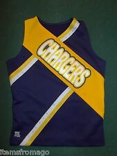 Teamleader CHARGERS Navy, Yellow, White Cheerleading UNIFORM TOP Yth Large