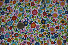 Vintage Cotton Fabric Quilt Craft Scrap 70s Flower Power Multi Color Hippy 4Y
