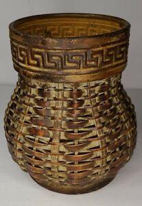 "Vintage Handmade Woven Wicker Basket Rattan Planter With Metal Base and Rim 7.5"""