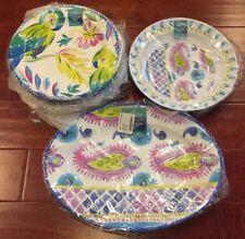 14pc Parrots Floral Tropical MELAMINE 12 Dinner Plates, Serving Platter & Bowl
