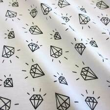 Stoff Meterware Jersey Baumwolle weiß schwarz Diamanten Preis pro Laufmeter Neu