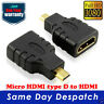 Micro HDMI Male Type D to HDMI Female Plug Converter Adapter Cable HD 1080P HDTV