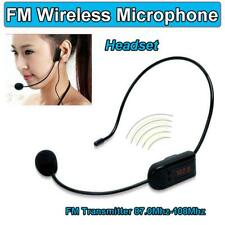 Portable FM Wireless Microphone Headset System with Transmitter Receiver Black