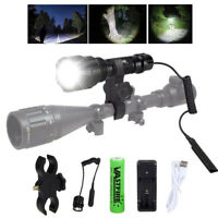 Tactical White LED 5000Lm Flashlight Hunting Hog Varmint Torch Rifle Gun Mount