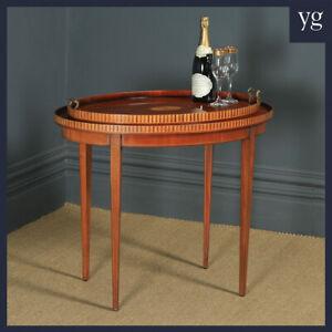 Vintage English Sheraton Style Mahogany & Satinwood Oval Drinks Tray on Table