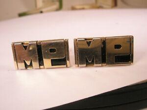 -MP Monogram Initial Letter Font Vintage SWANK Cuff Links
