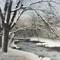 Vintage Early Mid Century Christmas Greeting Card Snowy Winter Stream Trees
