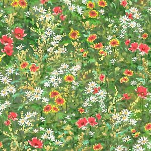 Fabric Wild  Flowers Pastoral Song On Green Cotton by P&B Textiles 1/4 yard 4086