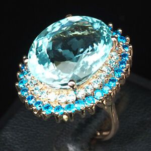 AQUAMARINE AQUA BLUE OVAL 16 CT. 925 STERLING SILVER ROSE GOLD RING SZ 6.25 GIFT