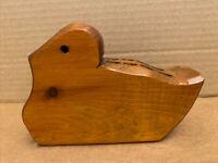 Vintage Hand Carved Wood BIRD Shape Pen Pencil Holder Office Desk Figurine