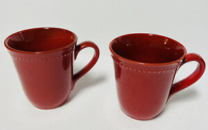 Pier 1 Imports Spice Route Paprika Stoneware Coffee Mugs Cups Set of 2