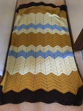 Hand Knitted by Nana Beautiful Blanket/Throw~ Gold /brown/ Blue/ivory 45� X 60�