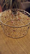 Round wire basket with gems and attached lid. Table decor, gift basket