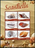 LIBERIA 2016 SEASHELLS SHEET OF SIX   MINT NH