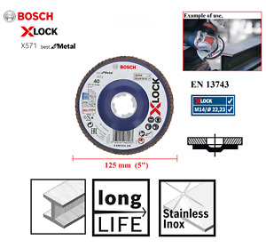 "Bosch X Lock 125mm (5"") Grinder Flap Disc Linish Sanding Straight For Metal 40G"