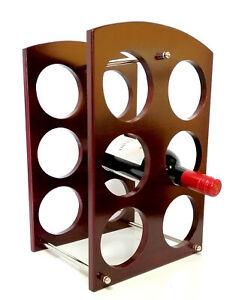 Rectangular Wooden Wine Rack Stand 6 Bottle Organiser Holder for Home Bar HW684
