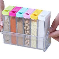 6xAcrylic Spice Container Jar Condiment Dispenser Salt Seasoning Box For Kitchen