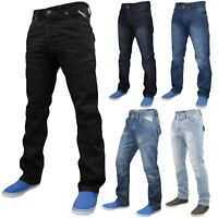 Enzo Mens Denim Jeans Straight Leg Regular Fit Trousers Pants All Waist Sizes