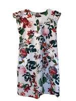 Dorothy Perkins Floral Dress Size 10 White Green Red Pretty Shift Roses Flowers