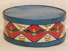 Vintage Ohio Art Co Tin Drum Shape Eagles Horns Metal