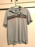 Vintage Jamaica Jaxx Hawaiin Floral Polo Shirt Blue Mens Size Medium