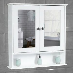White Bathroom Wall Cabinet Storage Cupboard with Mirror Wooden Shelves
