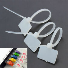 100 x Nylon Plastic Self-Locking Label Tie Network Cable Marker Wire Strap Zip