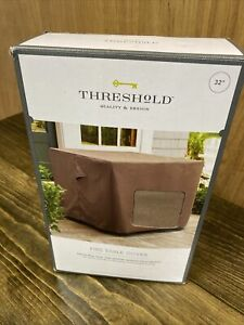 """Threshold Square Fire Pit Table Cover Brown 32""""x 32""""x 24"""" UV Protection NEW"""