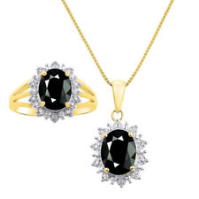Princess Diana Inspired Halo Diamond & Onyx Matching Pendant Necklace and Ring