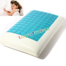 Memory Foam White Bed Pillow Blue Cooling Comfort Gel Orthopedic Sleep