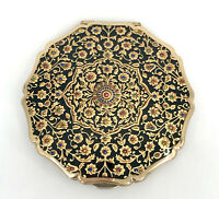 Stratton Convertible Powder Compact 1960s Black Enamel Persian Gold Floral Vtg