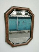 Specchio molato specchiera ottagonale radica e oro 87 x 65 cm
