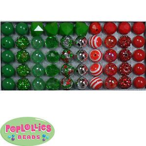 12mm Christmas Medley Acrylic Mixed Style Bubblegum Beads Lot 50 pc.chunky