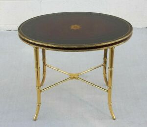 Hollywood Regency Leather and Brass Faux Bamboo Coffee Table by Maitland-Smith