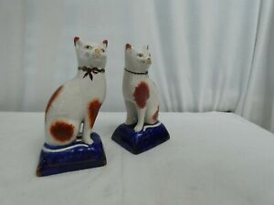2 Ceramic cats kittens white & brown figurines blue base height 18cm