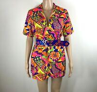 Vintage 60s Psychedelic Dress M Medium Mini Mod Go Go Hippy Shirt Blouse Hippy