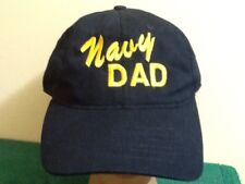NAVY Dad Strapback Slouch Cap Hat Eagle Crest, Made in USA