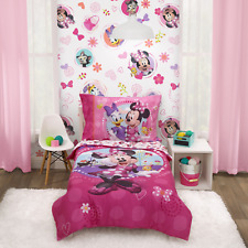 Perfect Minnie Mouse Friend 4-Piece Toddler Pink Soft Bedding Sets, Toddler Bed
