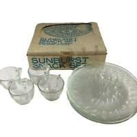 Sunburst Snack Set 4 Indiana Glass Clear Crystal Lunch Plate Punch Cup Vintage