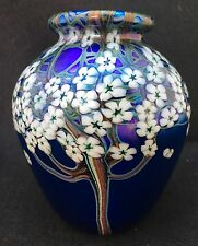 Orient and Flume Iridescent Studio Art Glass Vase 1986 Flowers
